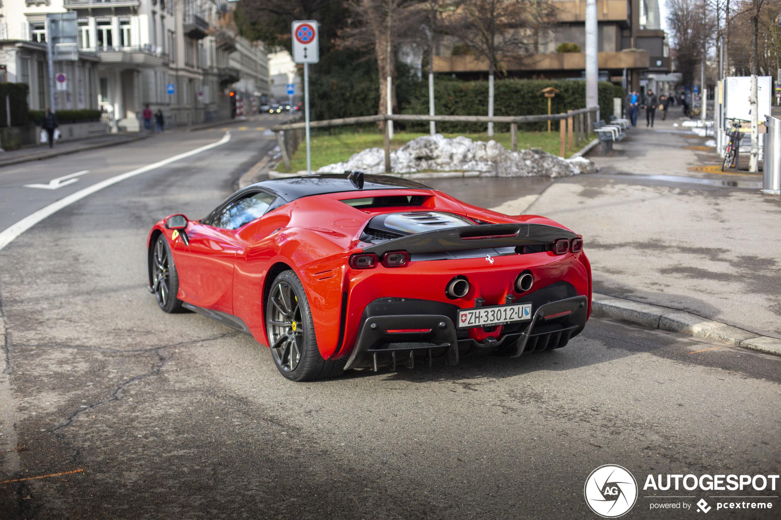 Ferrari SF90 Stradale moves through quiet Zurich
